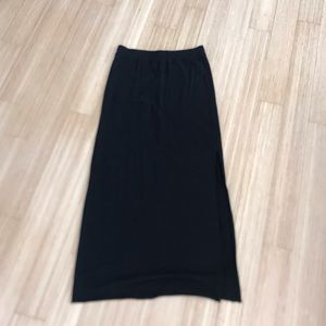 H&M black basic long skirt with side slit size S